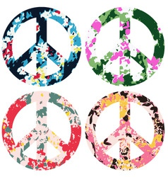 Floral peace set vector