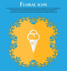 Ice cream floral flat design on a blue abstract vector