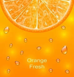Orange background with slice and drops vector