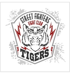 Street fighters - fighting club emblem label vector