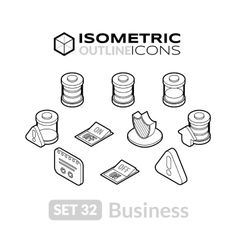 Isometric outline icons set 32 vector