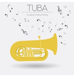 Musical instruments graphic template tuba vector