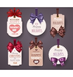 Set retro labels with bows vector