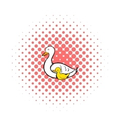 Mother swan and cygnet icon comics style vector