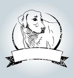 Vintage label with sketch Labrador vector image