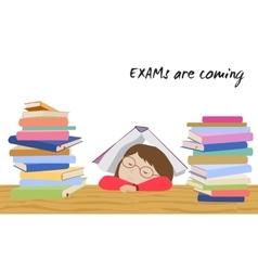 Exam student stress schoolgirl sleeps under book vector