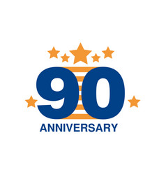 90th anniversary colored logo design happy vector image vector image
