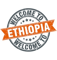 Welcome to ethiopia orange round ribbon stamp vector