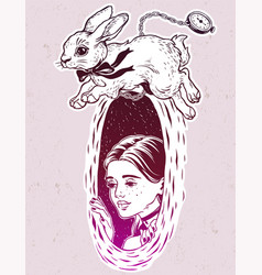 Alice in wonderland chasing the white rabbit vector