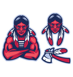 American native warrior vector