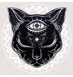 Black cat head portrait with moon and three eyes vector image vector image