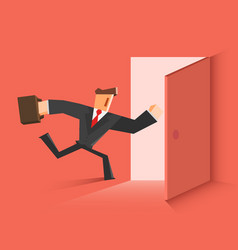 Businessman running in the open door vector