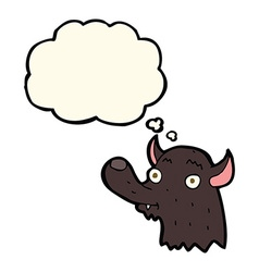 Cartoon happy wolf with thought bubble vector
