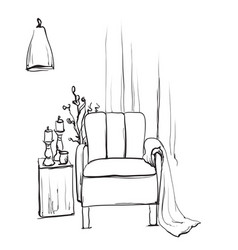 Chair sketch style blanket vector