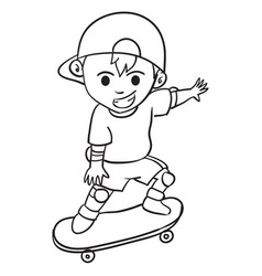 Character of boy playing skateboard vector