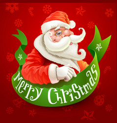 christmas card with santa claus on red background vector image vector image