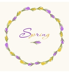 Crocus wreath 3 purple yellow vector
