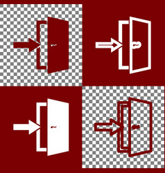 Door exit sign bordo and white icons and vector