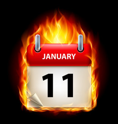 Eleventh january in calendar burning icon on vector