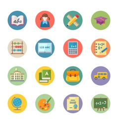 Flat Education Icons Set 1 - Dot Series vector image