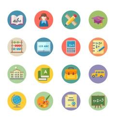 Flat Education Icons Set 1 - Dot Series vector image vector image