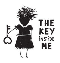 Girl with key and quote sign cartoon vector