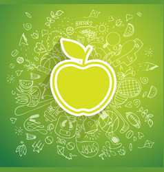Helthy lifestyle apple concept doodle vector