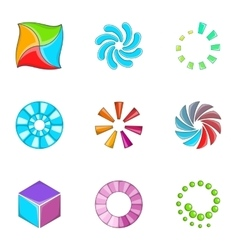 Loading indicators icons set cartoon style vector