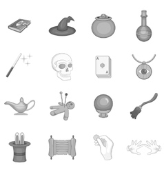 Magic icons set black monochrome style vector image