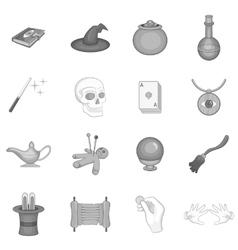 Magic icons set black monochrome style vector image vector image