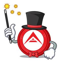 Magician ark coin mascot cartoon vector