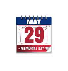 memorial day calendar 2017 29 may vector image