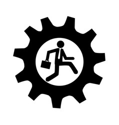 Monochrome gear frame with man and executive vector