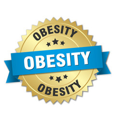 Obesity 3d gold badge with blue ribbon vector