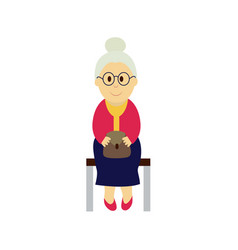 old woman sits on a transport bench vector image vector image