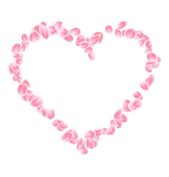 pink petals heart isolated eps 10 vector image