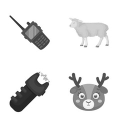 Police animal and other monochrome icon in vector