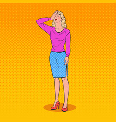 Pop art confused woman covering her face with hand vector