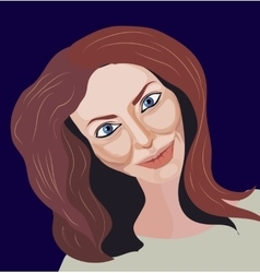 Portrait of brown-hair girl vector image