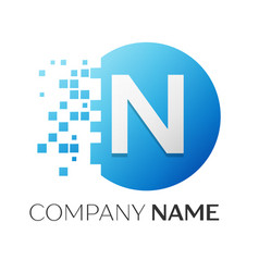realistic letter n logo in colorful circle vector image vector image