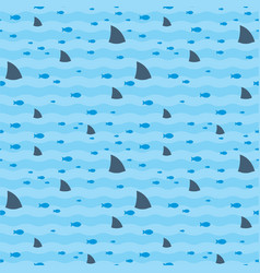 sharks and fish swimming in blue sea pattern vector image vector image