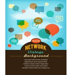 social network media and communication in vintage vector image vector image