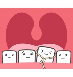 Tooth pulled thread vector image