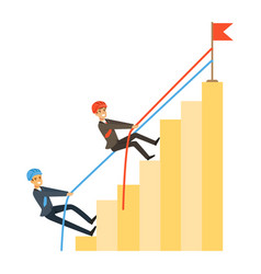 Two businessmen climbing bar graph of success vector