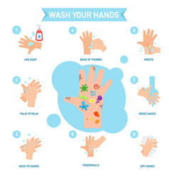 Washing hands properly infographic vector