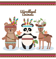 woodland animals with feather crown vector image