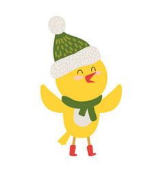 Yellow chiken in scarf icon vector