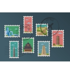 Chinese postage stamps and postmarks vector