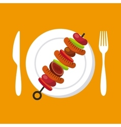Grilled skewer icon vector