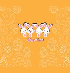 happy easter with bunny on the yellow background vector image